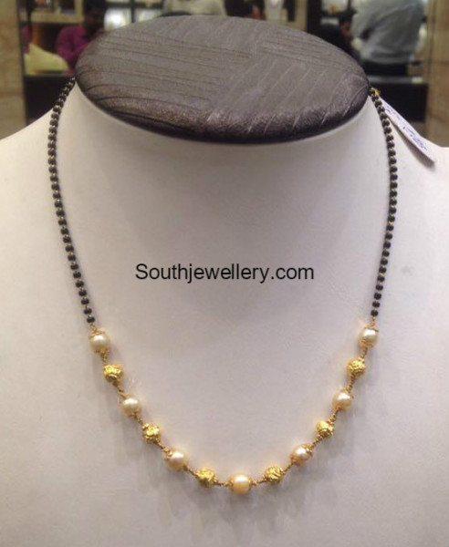5 Grams Black Beads Mangalsutra - Jewellery Designs