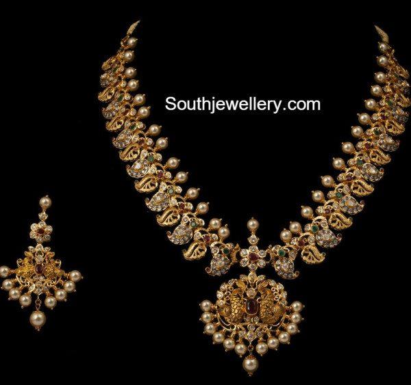 Beautiful Mango Peacock Haram Set Indian Jewellery Designs