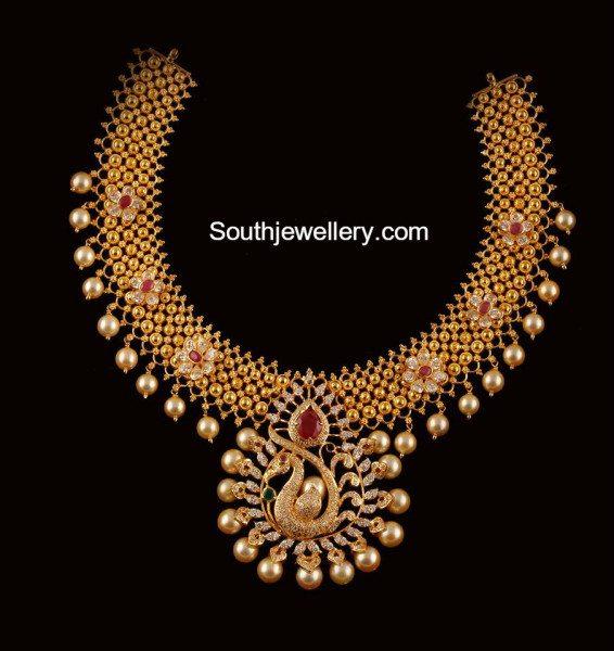 antique_gold_necklace_peacock_pendant