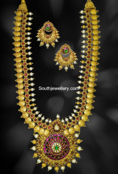 Antique Lakshmi Kasu Haram Indian Jewellery Designs