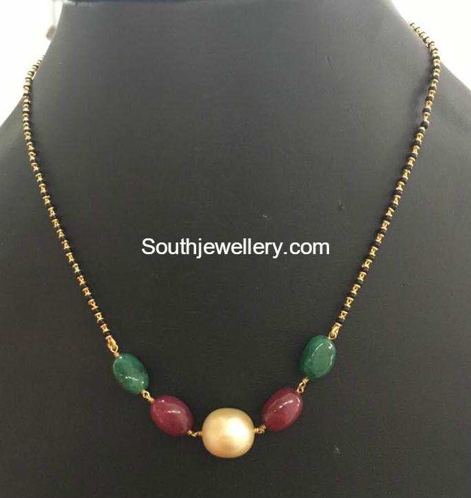 Light Weight Black Beads Mangalsutra Chains Jewellery
