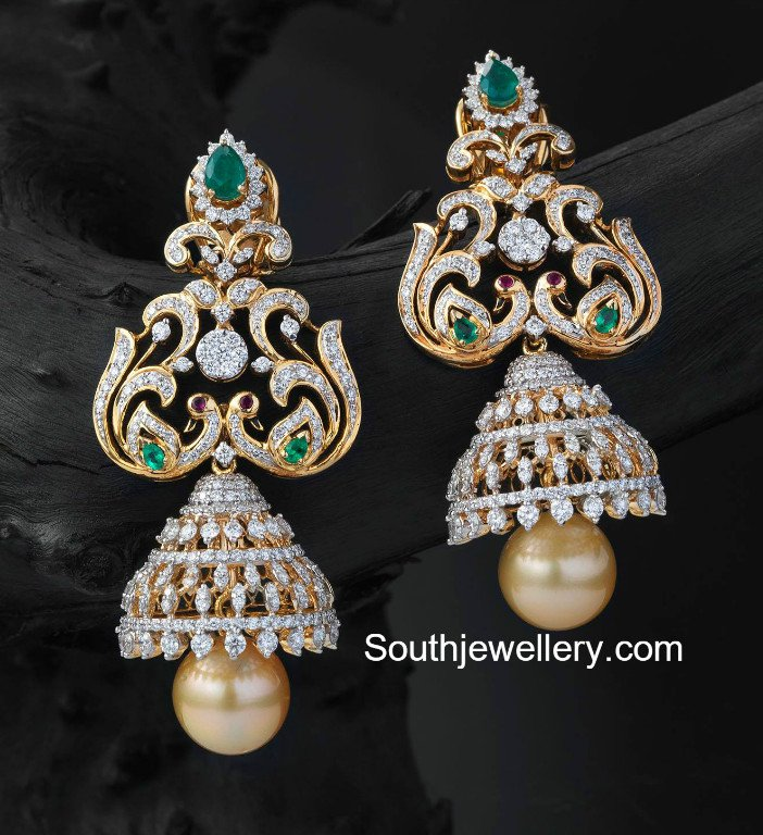 designed diamond earrings studded peacock antique with pin polish ruby stones twin jhumka gold historic synthetic