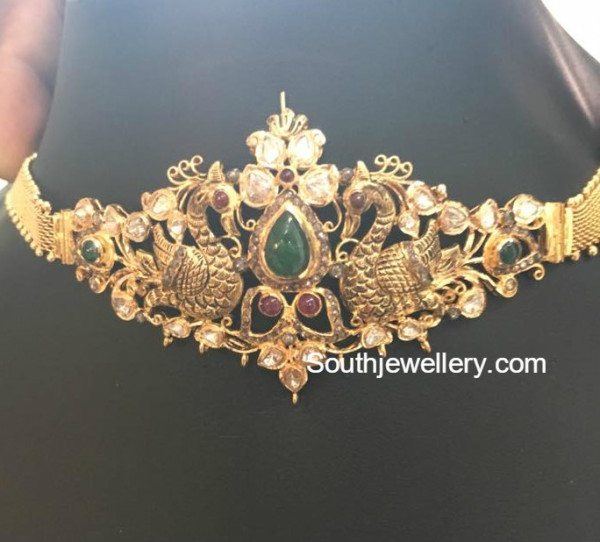 Antique Gold Peacock Choker Cum Armlet