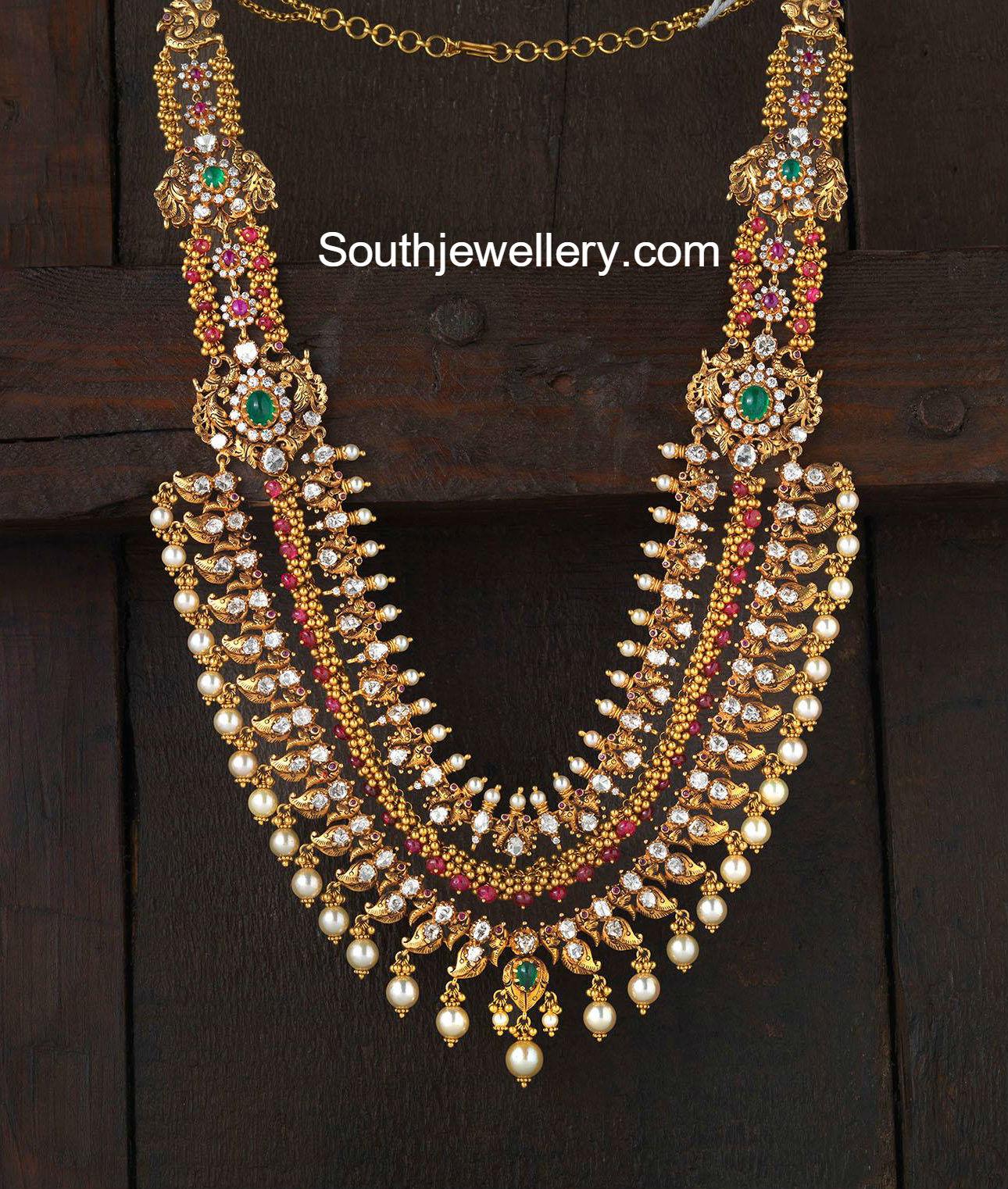 Antique Layered Mango Peacock Haram Jewellery Designs