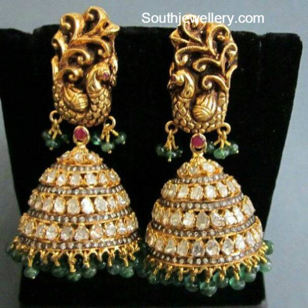 peacock_polki_diamond_jhumkas