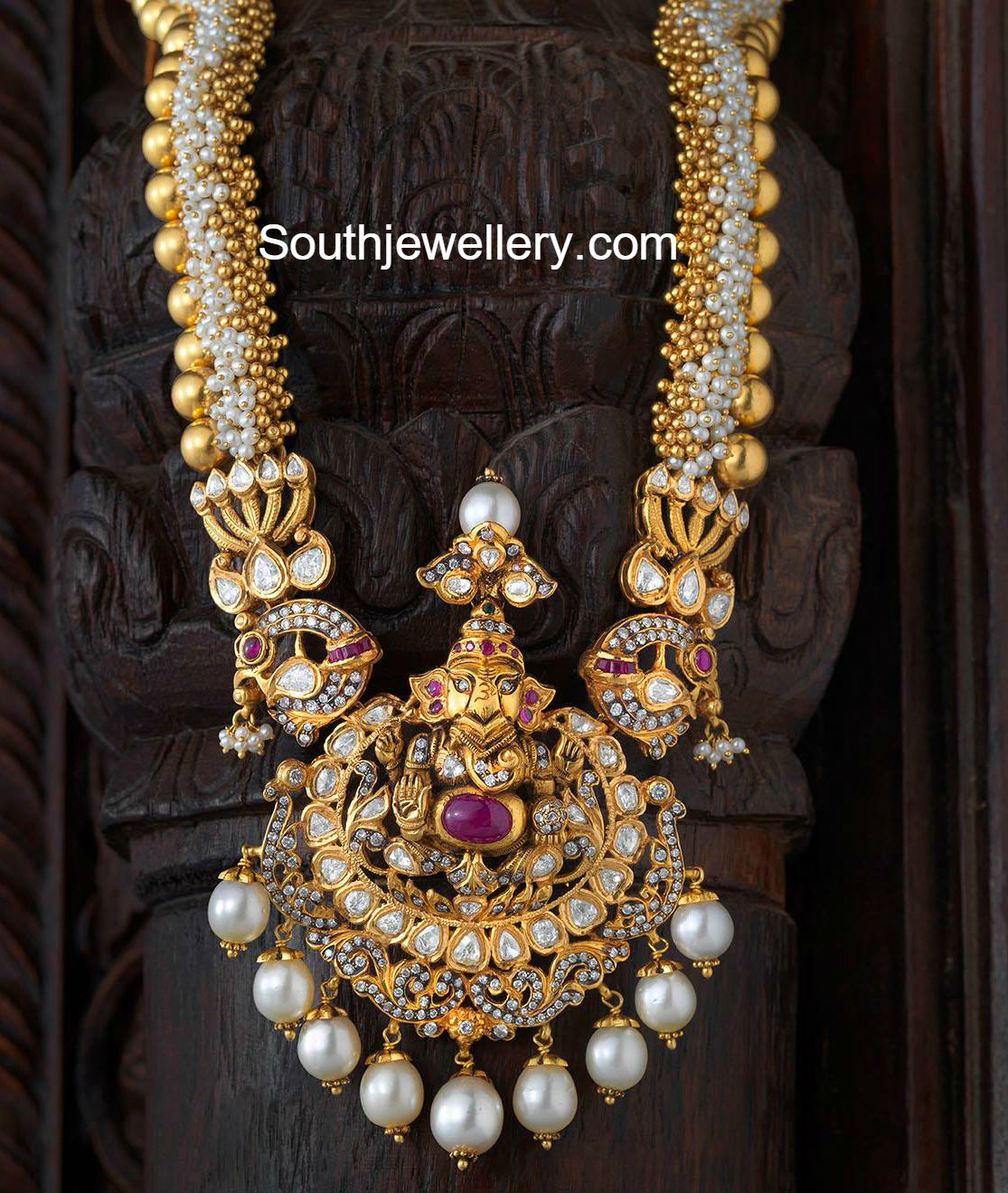 Antique necklace with ganesh pendant jewellery designs antique necklace with ganesh pendant aloadofball Gallery