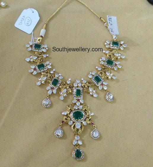 diamond_emerald_peacock_necklace