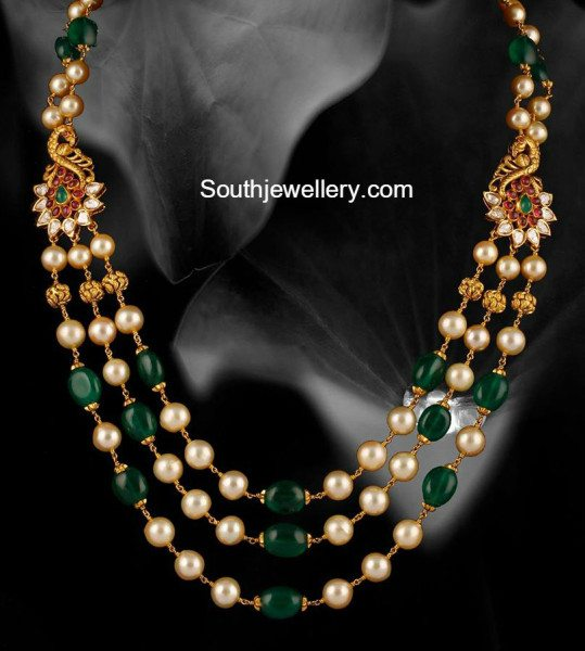 Emerald Beads And South Sea Pearls Mala Jewellery Designs