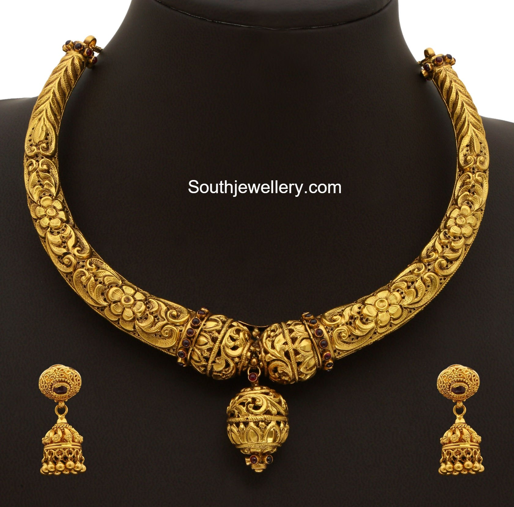 Gold Kanthi Necklace Set - Jewellery Designs