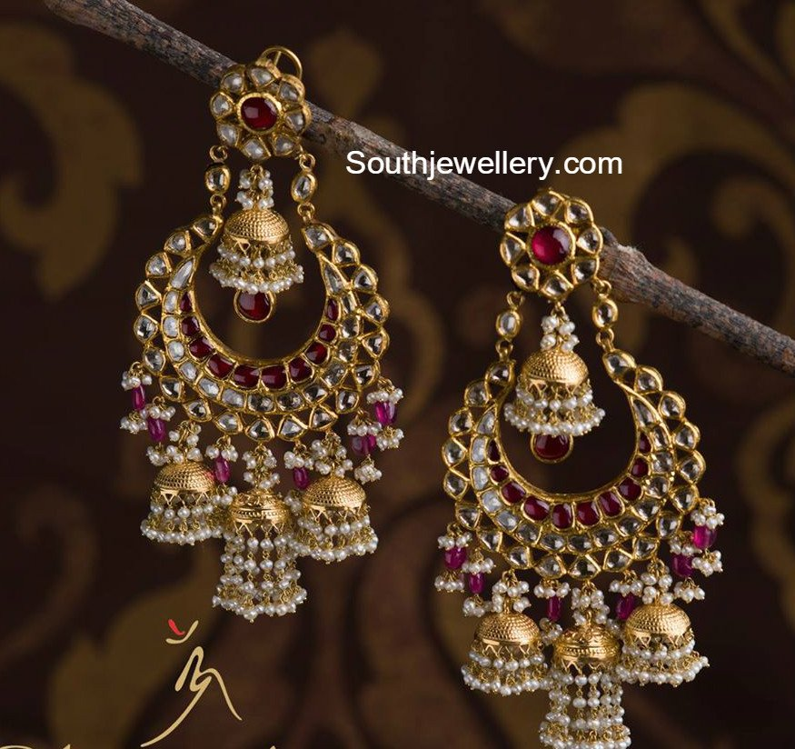 Beautiful South Indian Double Long Necklace Set: Beautiful Polki Chandbalis