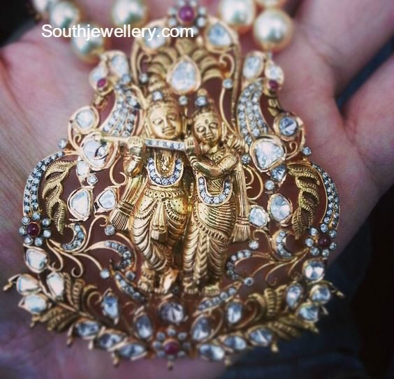 Antique radha krishna pendant jewellery designs antique radha krishna pendant aloadofball Gallery