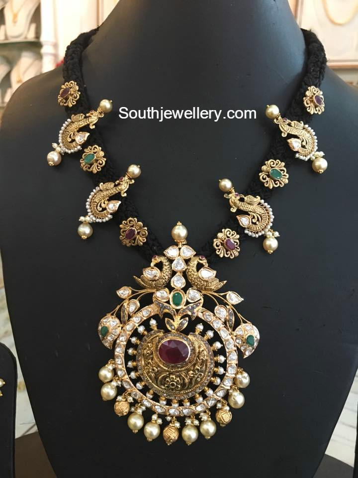 Black Thread Peacock Necklace Jewellery Designs