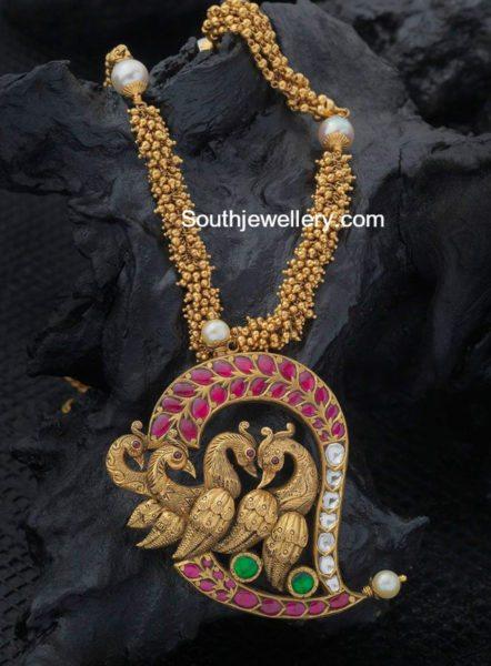 gajjalu_necklace_mango_peacock_pendant
