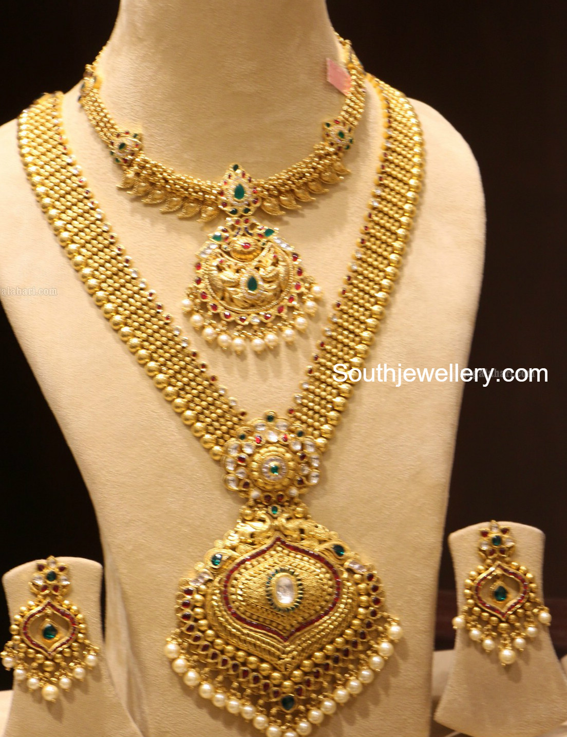 Gold Necklace And Haram Set By Manepally Jewellery Designs