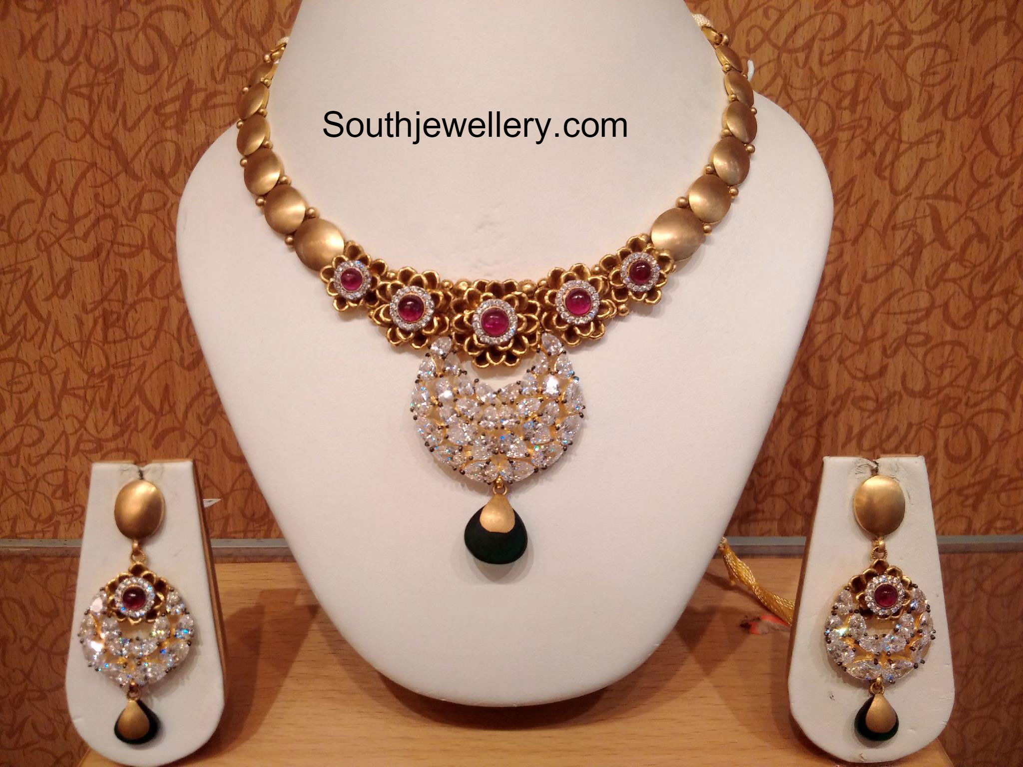 gold set product collections jewel chain light weight necklace