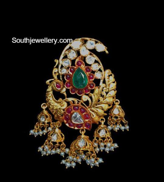 peacock flat diamond pendant