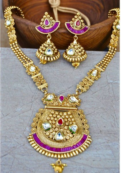 Gold Plated Ruby Kundan Necklace