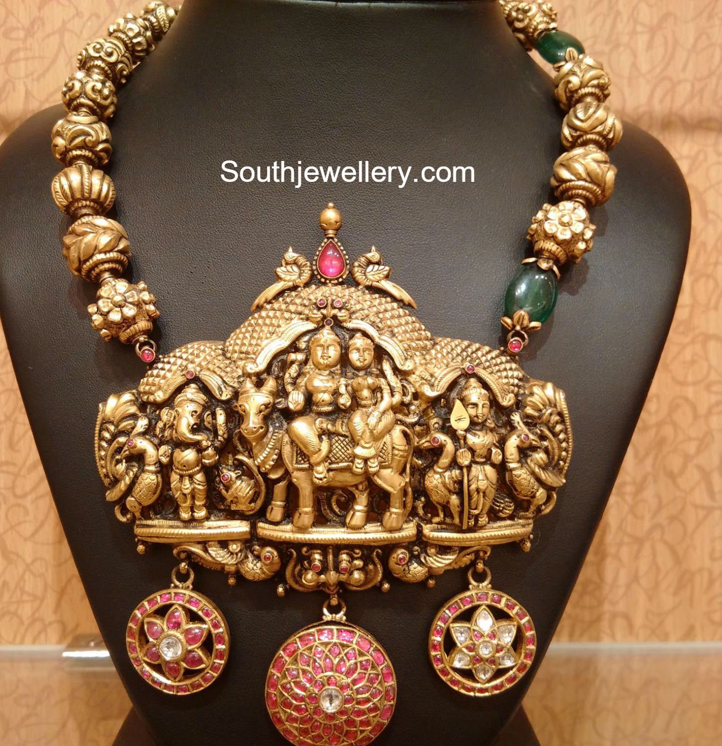 Beautiful antique temple haram jewellery designs mozeypictures Image collections
