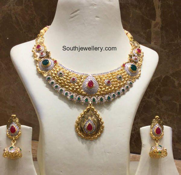 antique_cz_necklace_jhumkis