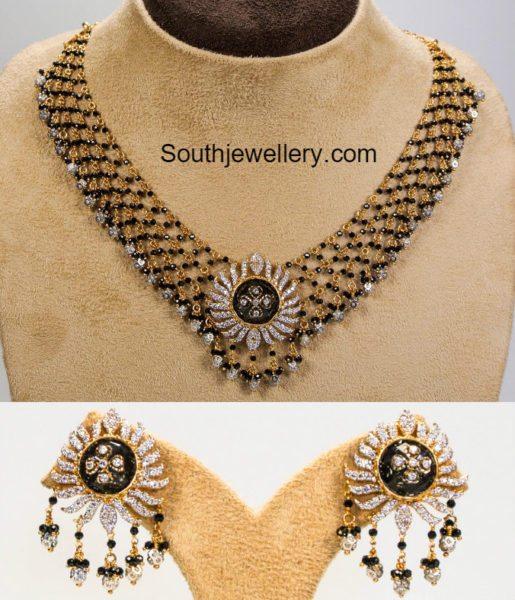 black_beads_necklace_earrings