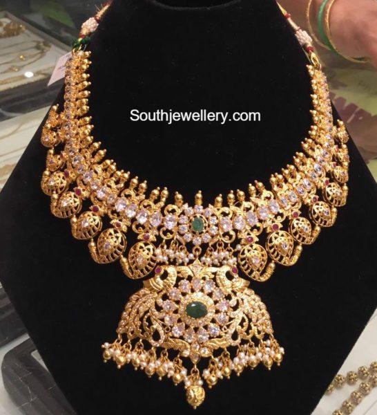 cz mango peacock necklace