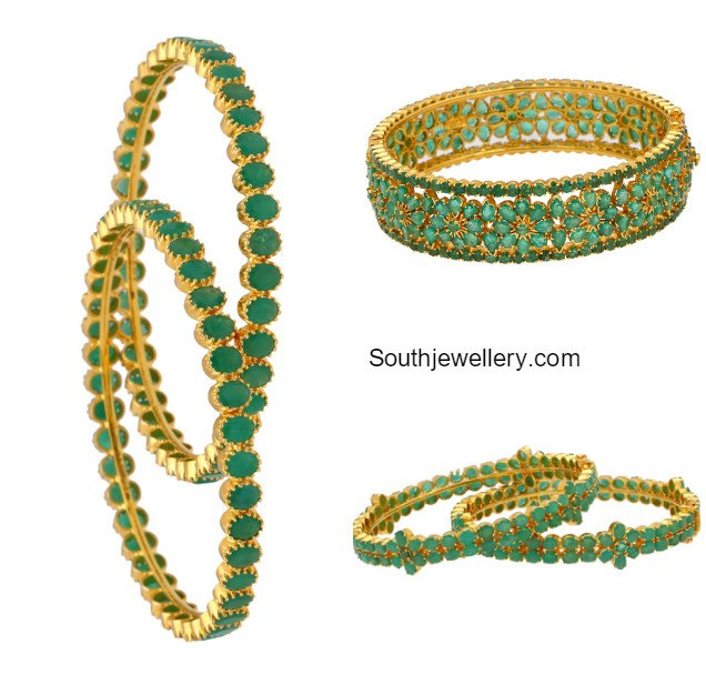 emerald diamond uncut bangles designs elegant jewellery