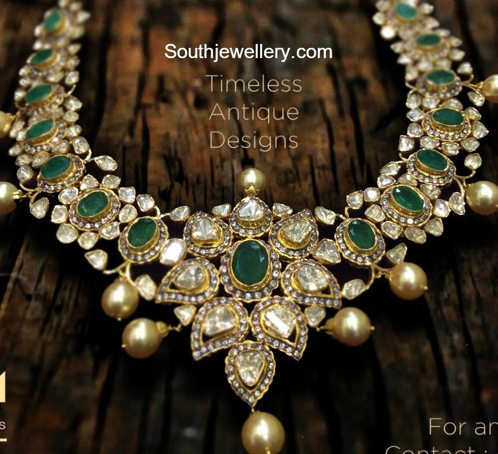 Emerald and Flat Diamonds Necklace - Jewellery Designs