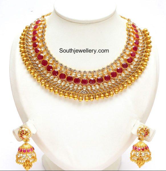 flat_diamond_ruby_necklace_jhumkas