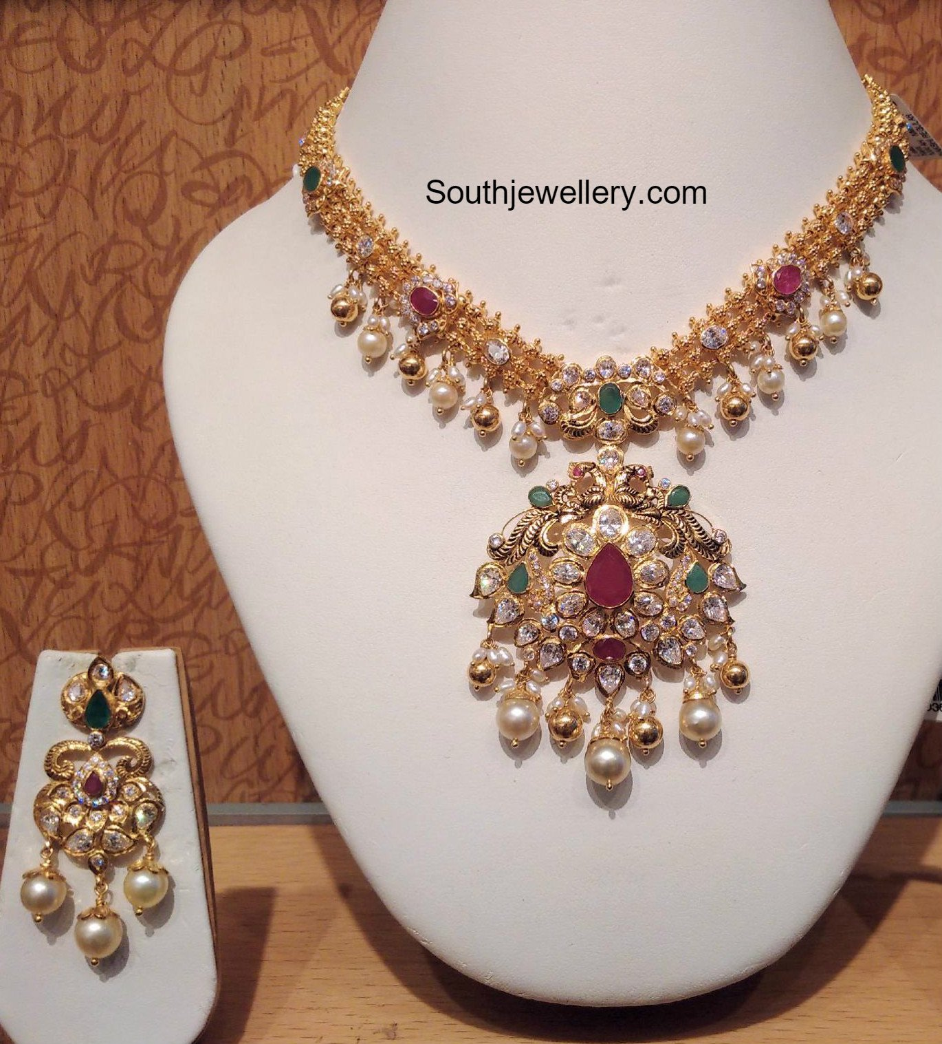 Light Weight CZ Necklace Set - Jewellery Designs