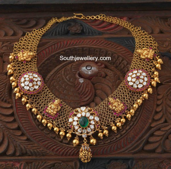 antique_gold_mesh_necklace_navrathan_jewellers