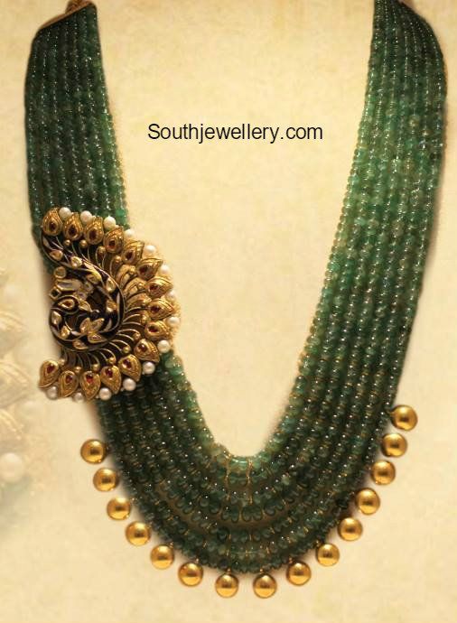 Beads mala with peacock side pendant jewellery designs mozeypictures Choice Image