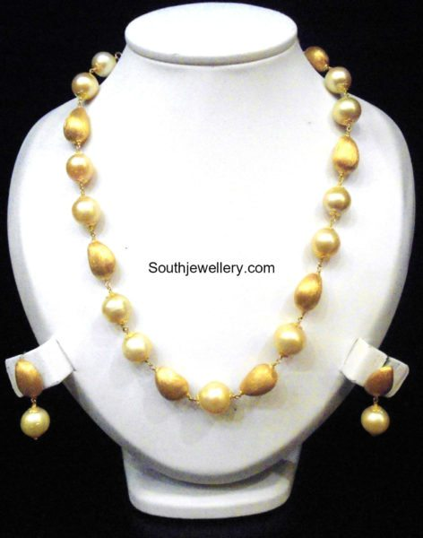 gold balls south sea poearls necklace