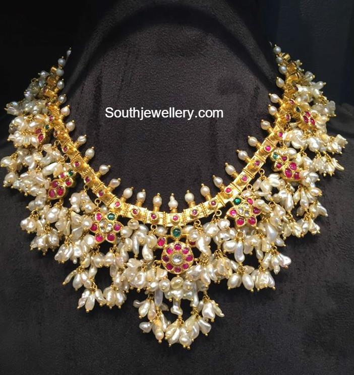 Beautiful South Indian Double Long Necklace Set: Gutta Pusalu Latest Jewelry Designs