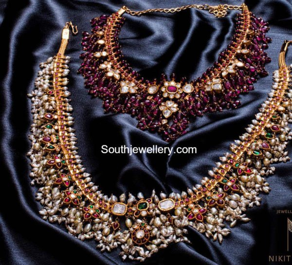 Gorgeous Ruby Beads and Pearls Guttapusalu Sets