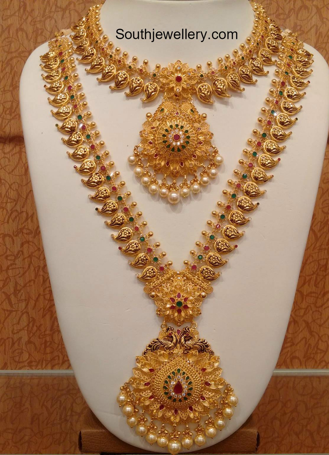 mango necklace and long haram set jewellery designs