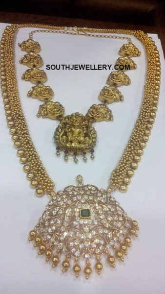 Antique Gold Haram with Diamond Pendant