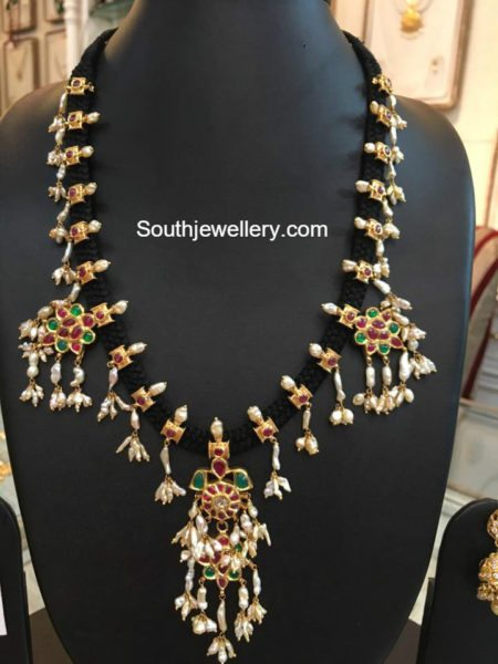Black Dori Guttapusalu Necklace And Haram Jewellery Designs
