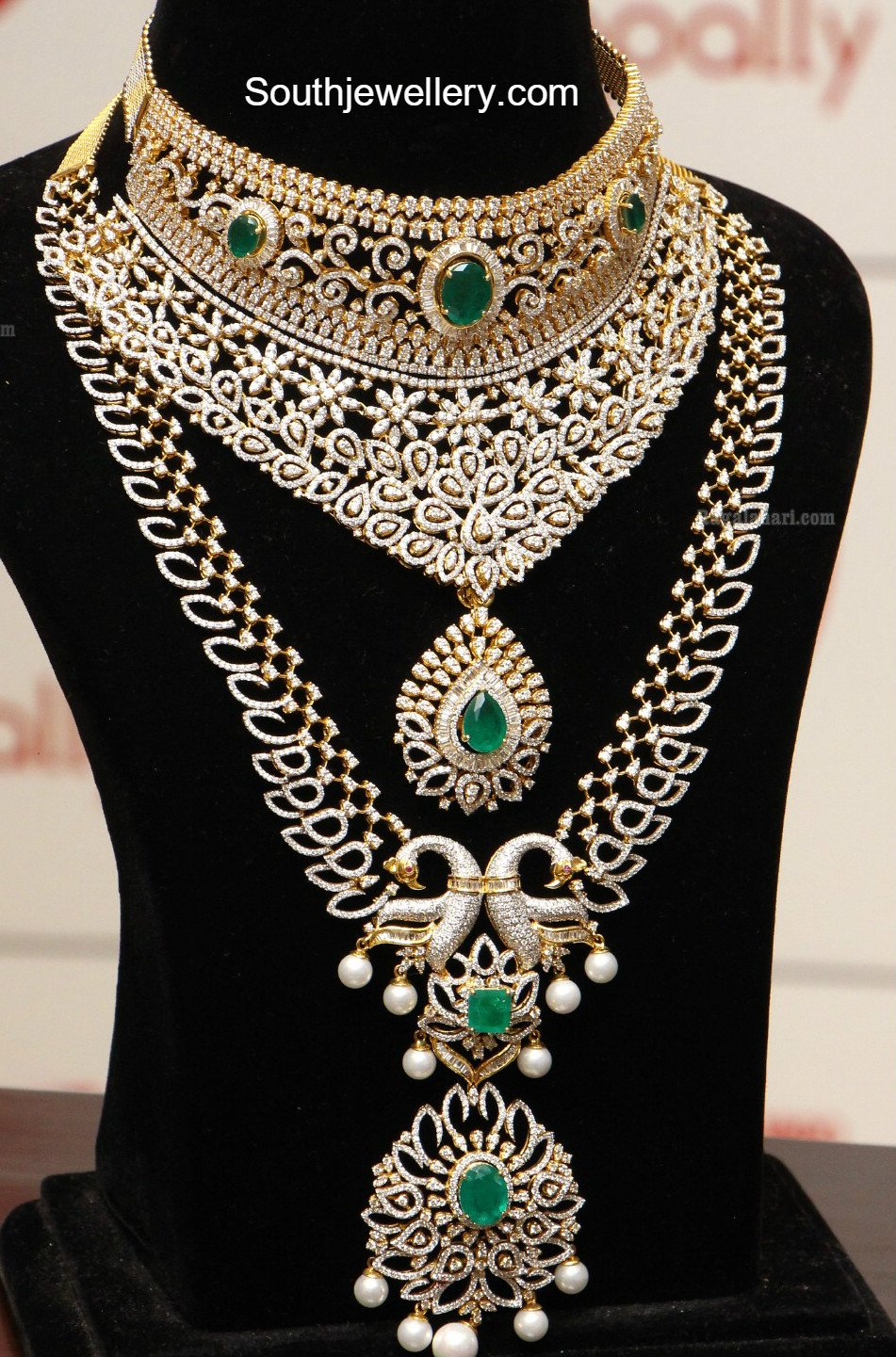 Diamond Emerald Choker And Haram Set
