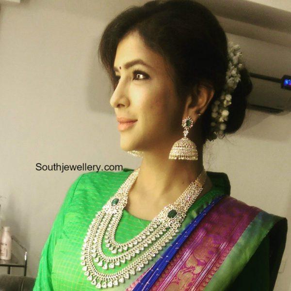 lakshmi_manchu_layered_diamond_haram_krish_wedding