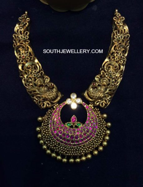 nakshi peacock necklace ruby pendant