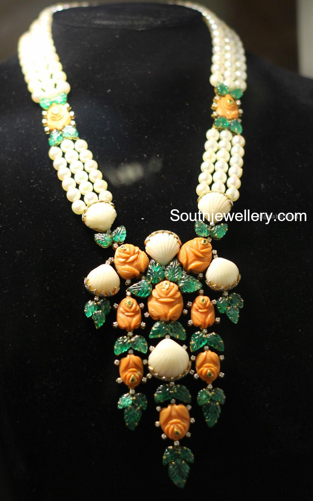 Malabar gold jewellery designs dubai - Pearls Mala With Coral Rose Pendant