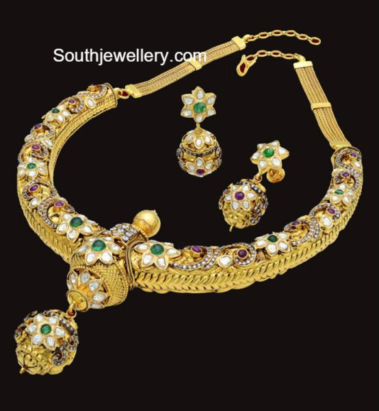 antique_gold_choker_jhumkas