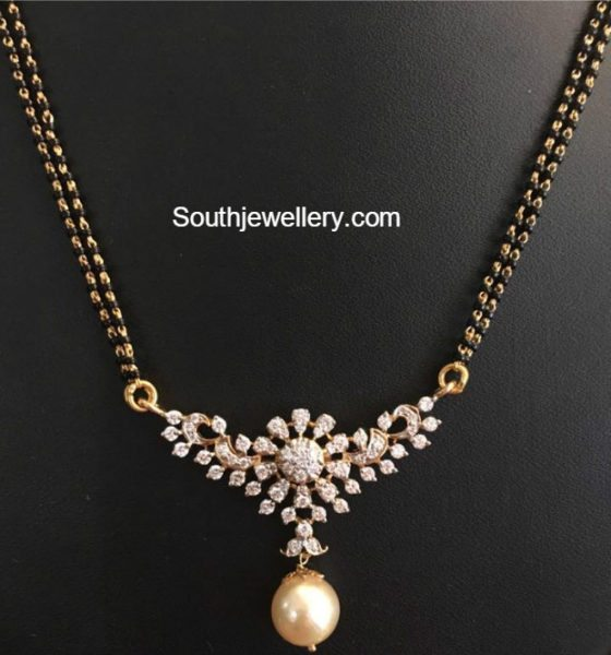 Black Beads Mangalsutra Chain Models Jewellery Designs
