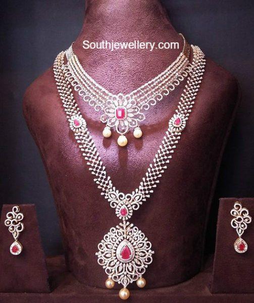 Bridal Diamond Necklace And Haram Set: Diamond Necklace Latest Jewelry Designs