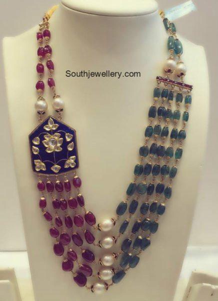 Ruby And Emerald Beads Mala Jewellery Designs