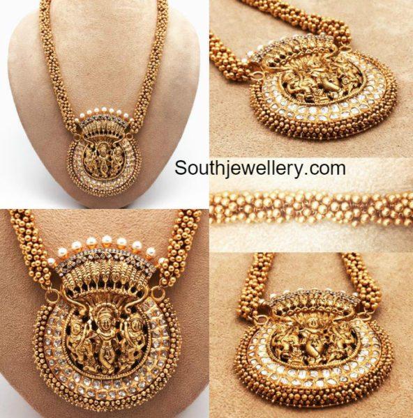 Antique Gold Chain with Krishna Pendant