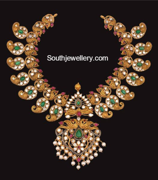 Antique Gold Peacock Mango Necklace Jewellery Designs