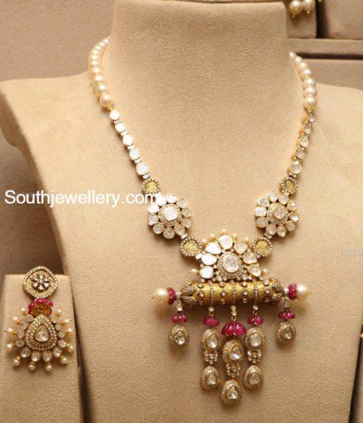 polki_diamond_long_chain_earrings