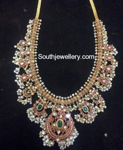 Kundan Peacock Gutta Pusalu Haram Jewellery Designs