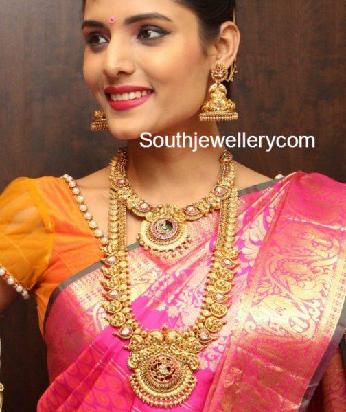 manepally_mango_haram_jhumkas_peacock_necklace